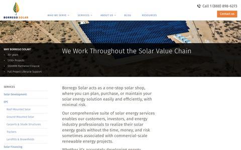 Screenshot of Services Page borregosolar.com - Services - Borrego Solar - captured Sept. 20, 2016