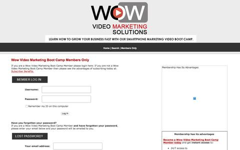 Screenshot of Login Page wowvideomarketingsolutions.com - Wow Video Marketing Boot Camp Members Only - captured July 9, 2018
