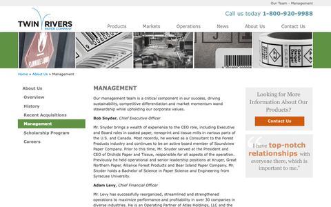 Screenshot of Team Page twinriverspaper.com - Management - Our Team - captured Nov. 17, 2018
