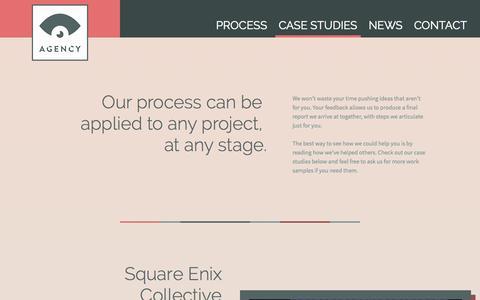 Screenshot of Case Studies Page agencyforgames.com - Case Studies | Agency - captured Nov. 2, 2014