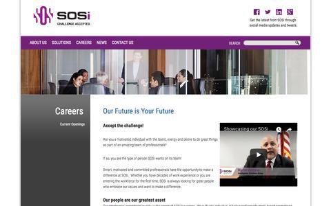 Screenshot of Jobs Page sosi.com - SOS International LLC :: Careers - captured Oct. 12, 2017
