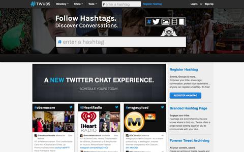 Screenshot of Home Page twubs.com - Hashtags - Twubs - captured Sept. 19, 2014