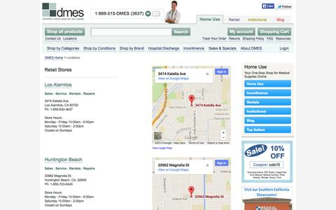 Screenshot of Locations Page dmes.com - Locations - captured Oct. 5, 2014