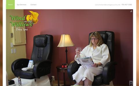 Screenshot of Home Page haliburton-spa.com - Haliburton Day Spa, Massages & Manicures – Wind in the Willows - captured March 11, 2016