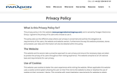 Screenshot of Privacy Page paragonelectronicsgroup.com - Privacy Policy | Paragon - captured Aug. 13, 2016