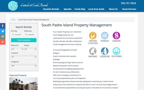 Screenshot of About Page latitude26.com - South Padre Island Property Management - captured Oct. 26, 2016