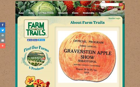 Screenshot of About Page farmtrails.org - Sonoma County Agritourism - About Farm Trails - captured Oct. 10, 2018