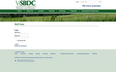 Screenshot of Login Page vtsbdc.org - Staff Area | Vermont Small Business Development Center - captured Nov. 5, 2014