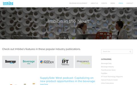 Screenshot of Press Page imbibeinc.com - Imbibe in the News | Imbibe - captured Sept. 24, 2018