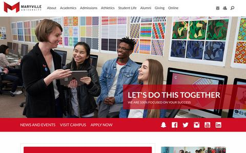 Screenshot of Home Page maryville.edu - Maryville University | St. Louis, Missouri - captured Aug. 19, 2019