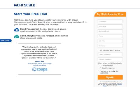 Screenshot of Landing Page rightscale.com - RightScale Free Trial | Cloud Management Platform - captured Aug. 18, 2016