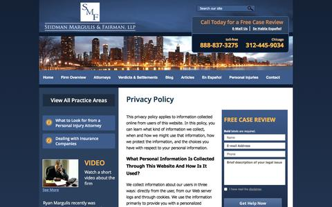 Screenshot of Privacy Page seidmanlaw.net - Privacy Policy | Steven J. Seidman Law Offices | - captured Feb. 26, 2016