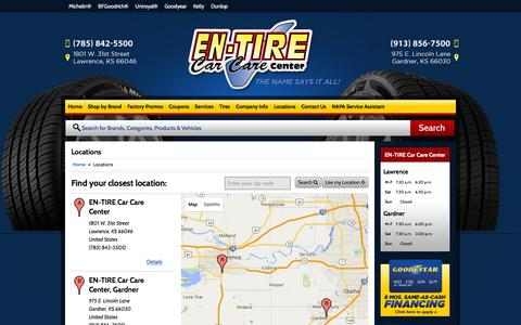Screenshot of Locations Page en-tire.com - Locations EN-TIRE Car Care Center Lawrence, KS (785) 842-5500 - captured Jan. 21, 2016