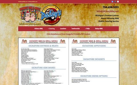 Screenshot of Menu Page hickorybbq.net - Catering menu, Hickory BBQ & Grill, Brighton, Ann Arbor, MI   Hickory BBQ & Grill, Catering Service, Brighton and Howell, Michigan - captured Oct. 2, 2014