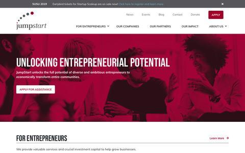 Screenshot of Home Page jumpstartinc.org - JumpStart Inc. | Entrepreneur Resources & Ecosystem Support - captured April 19, 2019