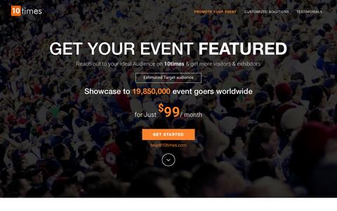 Screenshot of Services Page Pricing Page 10times.com - Advertise Trade Show,Promote Business Event Online,Exhibitors Email Marketing Campaign,Fairs Paid Advertising on 10times - captured Oct. 2, 2015
