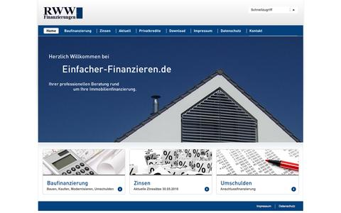 Screenshot of Home Page einfacher-finanzieren.de - RWW Finanzierungen ::: Immobilien einfacher finanzieren - captured June 9, 2016