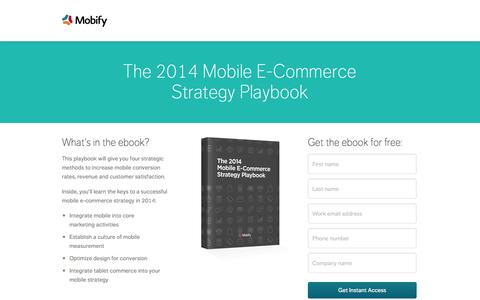 Screenshot of Landing Page mobify.com - The 2014 Mobile E-Commerce Strategy Playbook - captured Oct. 27, 2014