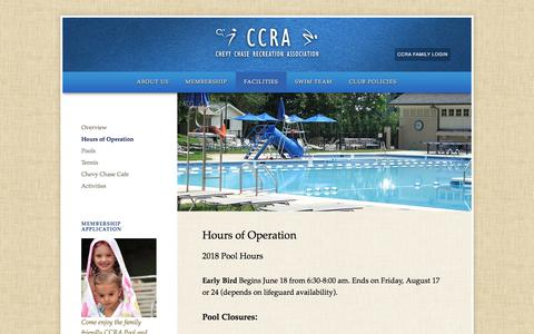 Screenshot of Hours Page chevychaserec.org - Hours of Operation - Chevy Chase Recreation Association - captured July 3, 2018