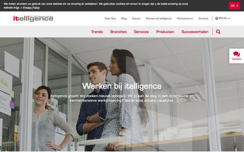 Screenshot of Jobs Page itelligencegroup.com - Werken bij itelligence| itelligence Nederland - captured July 21, 2018