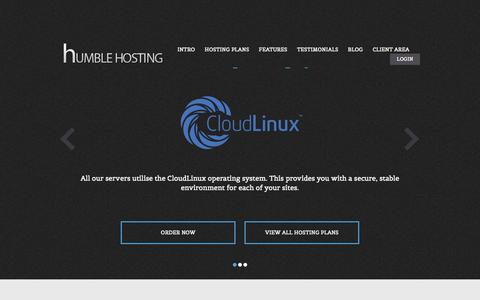 Screenshot of Home Page Blog Testimonials Page humblehosting.org - Humble Hosting | UK Based Shared Hosting Specialist - captured Sept. 30, 2014