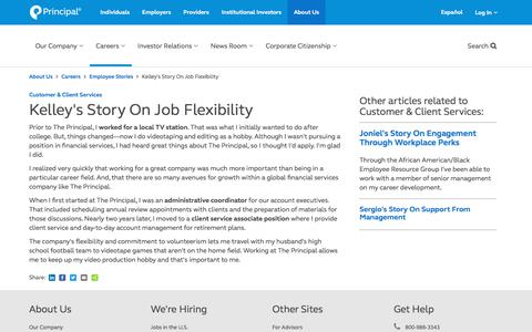 Screenshot of Jobs Page principal.com - Kelley's Story On Job Flexibility | The Principal Financial Group - captured July 25, 2018