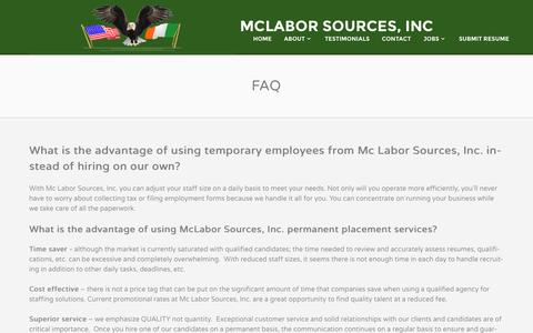 Screenshot of FAQ Page mclabor.com - FAQ For Boston MA Construction, Labor & Trade Employment   McLabor Sources - captured Oct. 27, 2014