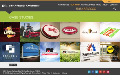 Screenshot of Case Studies Page strategicamerica.com - Case Studies Archive - Strategic America - captured Sept. 19, 2014