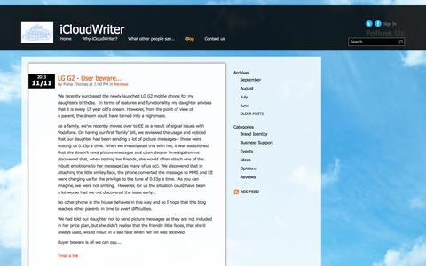 Screenshot of Blog icloudwriter.co.uk - Blog - captured Sept. 30, 2014
