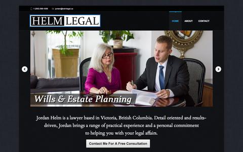 Screenshot of Home Page helmlegal.ca - Helm Legal | Wills & Estates, Corporate Law in Victoria, BC - captured Sept. 30, 2014