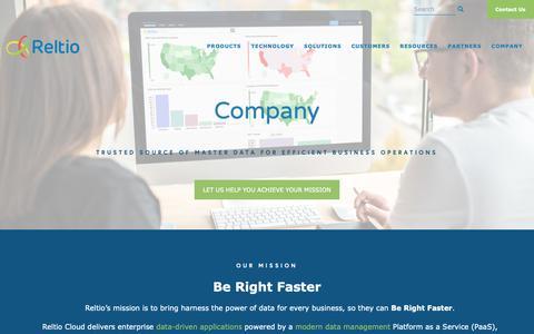 Screenshot of About Page Team Page reltio.com - Company - Reltio Cloud : Reltio Cloud - captured Feb. 5, 2019