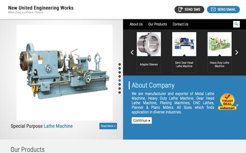 Screenshot of Home Page cnclathemanufacturers.com - Thrust Bearing and Adapter Sleeve Manufacturer | New United Engineering Works, Ludhiana - captured Oct. 18, 2018