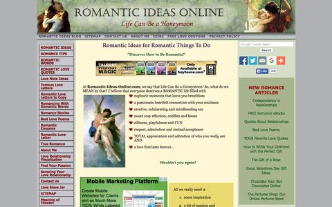 Screenshot of Home Page romantic-ideas-online.com - Romantic Ideas Online, Life Can Be a Honeymoon! Romance Ideas and Romantic Tips - captured Oct. 8, 2015
