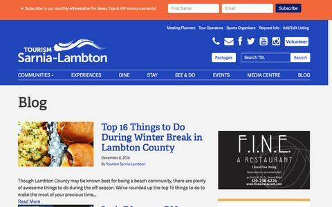 Screenshot of Blog tourismsarnialambton.com - Blog   Tourism Sarnia Lambton - captured Dec. 15, 2016