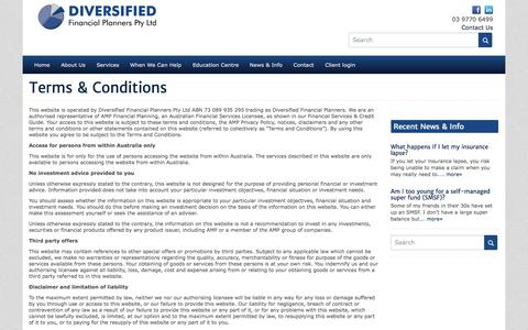 Screenshot of Terms Page diversifiedfp.com.au - Diversified Financial Planners - Terms & Conditions - Diversified Financial Planners - captured Oct. 5, 2014