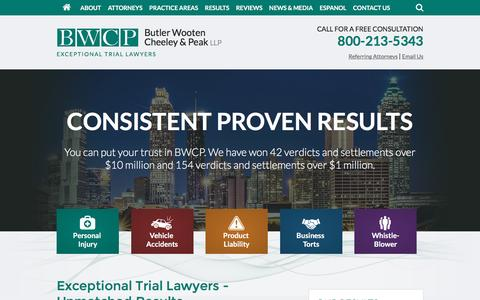 Screenshot of Home Page butlerwooten.com - Butler Wooten Cheeley & Peak LLP | Personal Injury Attorneys - captured Feb. 8, 2016