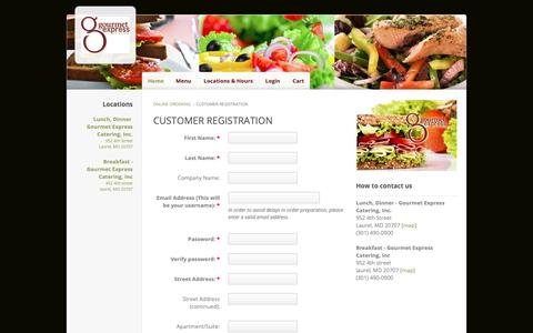 Screenshot of Signup Page ehungry.com - Gourmet Express Catering | Register - captured Oct. 24, 2018