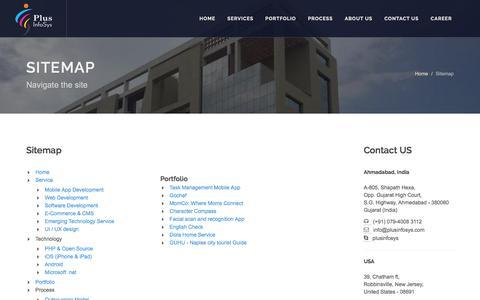 Screenshot of Site Map Page plusinfosys.com - Mobile App Development | Web Development | iPhone Apps Developer | Software Development | E-Commerce and CMS | Emerging Information Technology Service | UI Ux Design - captured July 14, 2016