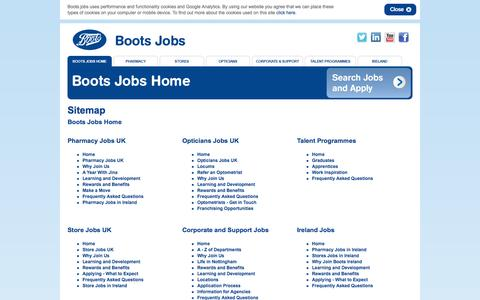 Screenshot of Site Map Page boots.jobs - Boots Jobs: Search the latest Pharmacy, Optician and Store Jobs with Boots - captured Sept. 23, 2014