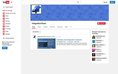 Screenshot of YouTube Page youtube.com - IntegrationTeam  - YouTube - captured Oct. 23, 2014