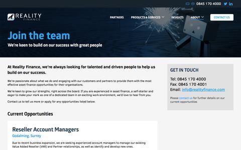 Screenshot of Jobs Page realityfinance.com - Asset Finance Careers – Join the team | Reality Finance - captured Oct. 26, 2017