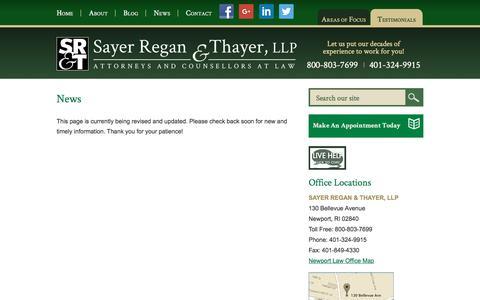 Screenshot of Press Page srtflaw.com - News  | Sayer Regan & Thayer, LLP | Newport, Rhode Island - captured Nov. 19, 2016