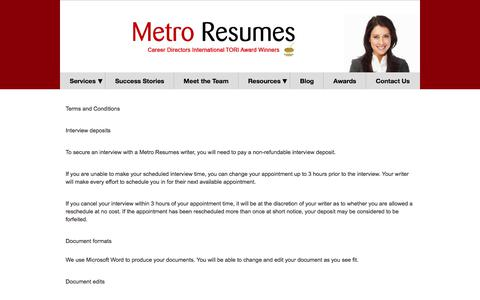 Screenshot of Terms Page metroresumes.com.au - Terms & Conditions   Metro Resumes - captured Sept. 20, 2018