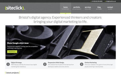 Screenshot of Home Page siteclick.co.uk - Web Design Bristol   Siteclick - captured Oct. 7, 2014