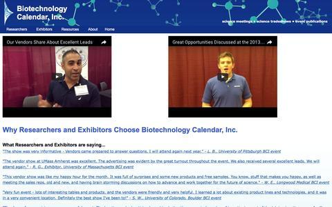 Screenshot of Testimonials Page biotech-calendar.com - Why Researcher and Exhibitors Choose Biotechnology Calendar Inc. - captured Nov. 22, 2016