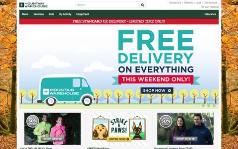Screenshot of Home Page mountainwarehouse.com - Outdoor Clothing & Equipment | Mountain Warehouse - captured Oct. 1, 2015
