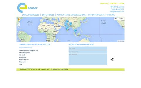 Screenshot of Contact Page ceaser.co.in - Ceaser   Contact - captured Oct. 2, 2014