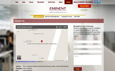 Screenshot of Contact Page eminentinstitute.com - Contact Us | Eminent Institute - captured Oct. 27, 2014