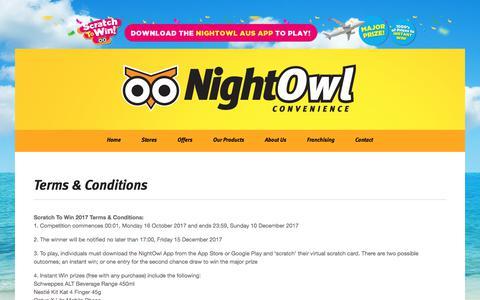 Screenshot of Terms Page nightowl.com.au - Nightowl Terms & Conditions - Nightowl - captured Nov. 15, 2017