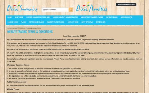 Screenshot of Terms Page dixiesouvenirs.com - WEBSITE TRADING TERMS & CONDITIONS - Dixie Souvenirs - captured Aug. 7, 2018